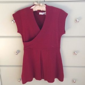 Red school girl looking cashmere sweater tunic